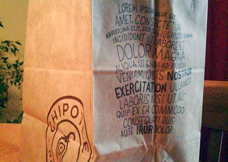 Lorem ipsum impreso en una bolsa